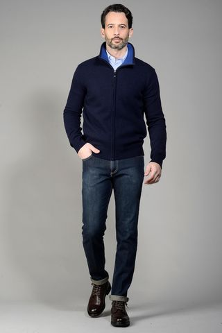 Cardigan blu zip Angelico
