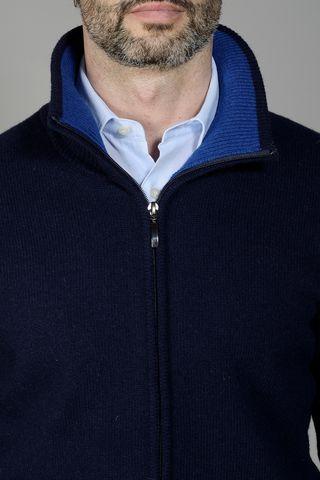 navy zip cardigan sweater Angelico