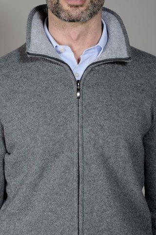 gray zip cardigan sweater Angelico