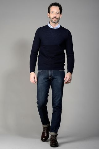 navy pullover with woven pattern Angelico
