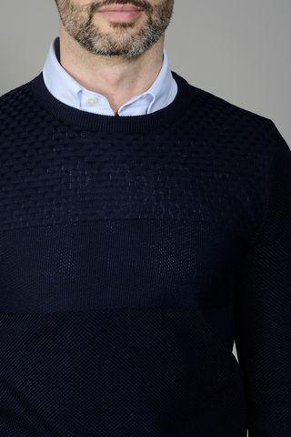 maglia blu carrè motivo intreccio Angelico