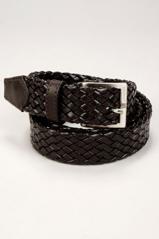 brown braided cow leather belt Angelico