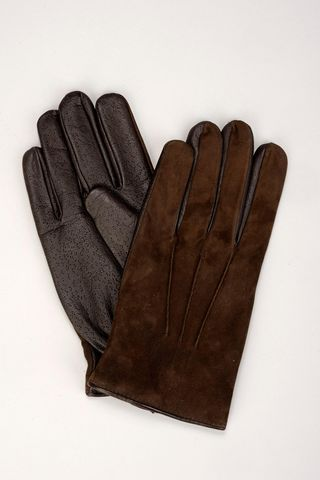 brown nubuck and leather gloves Angelico