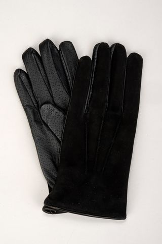 black nubuck and leather gloves Angelico
