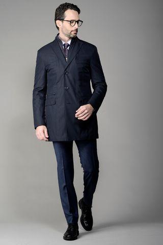 Cappotto blu tecnico spigato Angelico