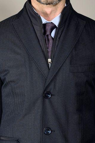 blue herringbone technical coat Angelico