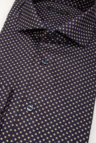 camicia blu rombi beige slim Angelico