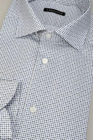 camicia bianca rombi grigi slim Angelico