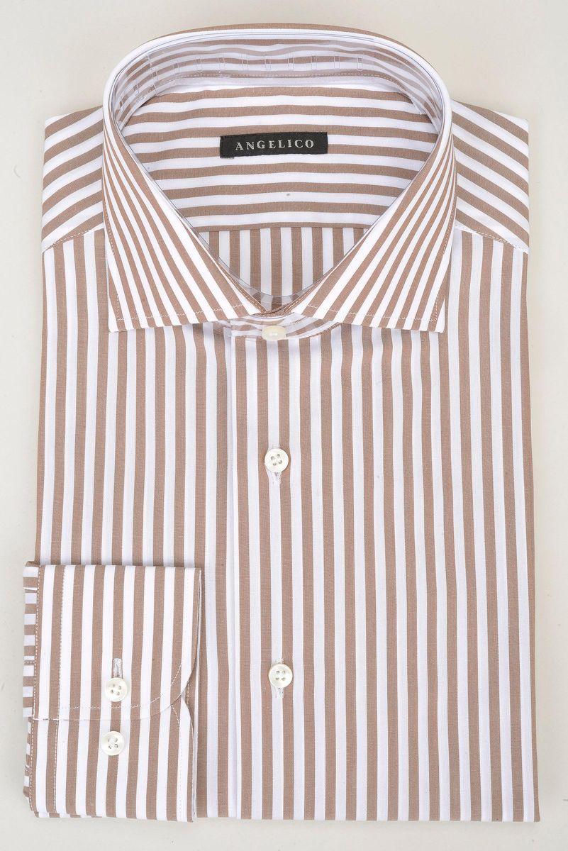 camicia bianca riga nocciola slim Angelico