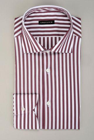 Camicia bianca-vinaccia riga media elasticizzata Angelico