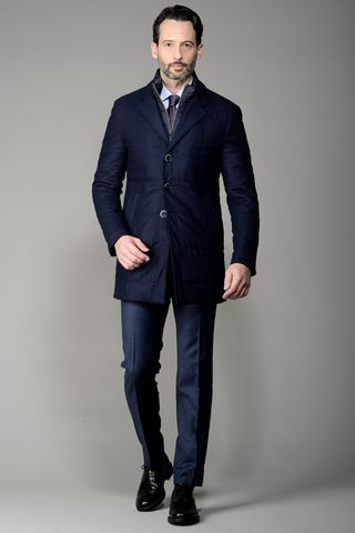 Blue over jacket Vitale Barberis fabric Angelico