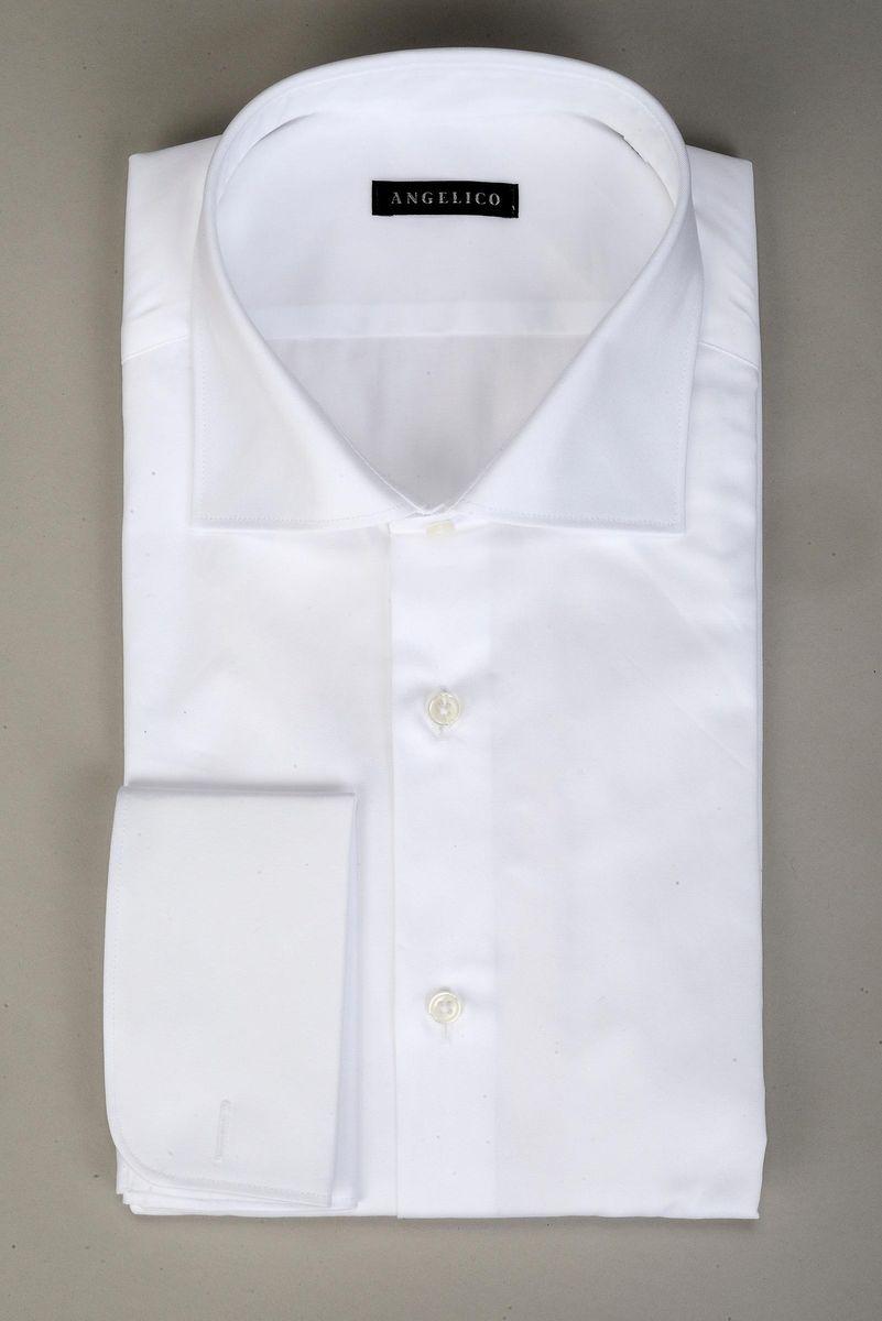 camicia bianca polso doppio gemelli slim Angelico