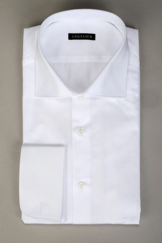 white shirt double cuff twill slim Angelico