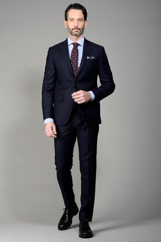 Navy flannel suit slim Angelico