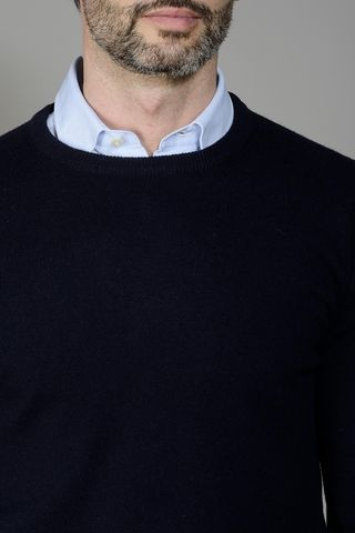 blue cashmere sweater Angelico