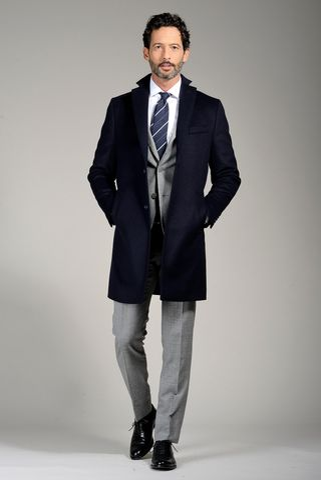 navy cashmere coat Angelico