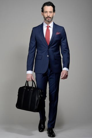 Blue pinstriped suit slim F.lli Cerruti Angelico
