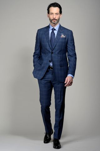 Blue Prince of Wales suit 100s Angelico