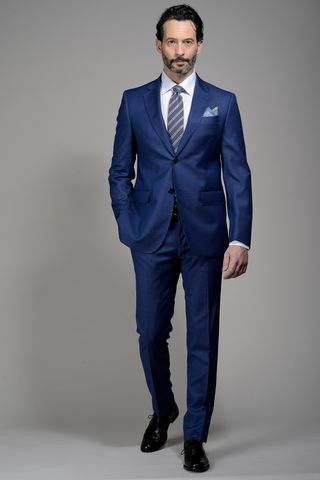 Light blue structured suit 100s Angelico