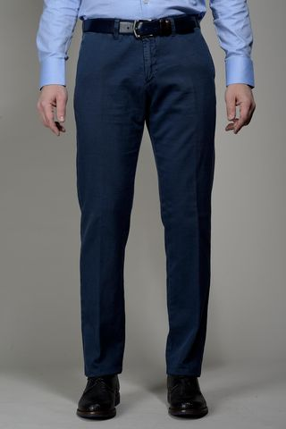 blue trousers cotton-linen stretch Angelico