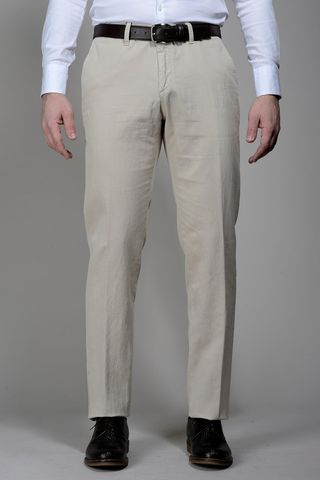 sand trousers cotton-linen stretch Angelico