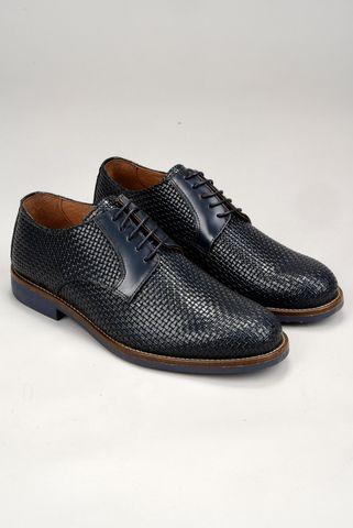 scarpa blu pelle intreccio derby Angelico