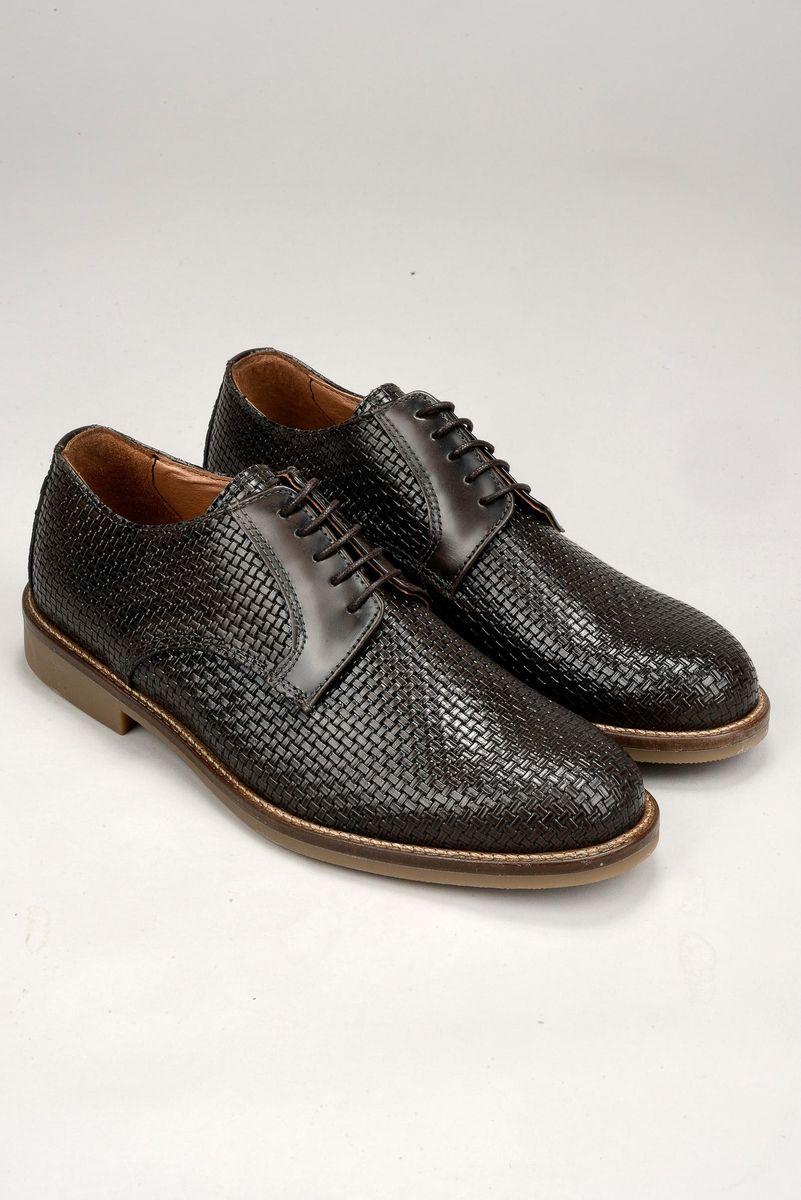 scarpa moro pelle intreccio derby Angelico