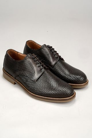 brown derby woven shoes Angelico