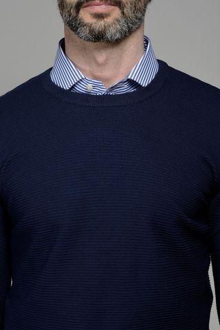 navy round neck cotton pullover Angelico