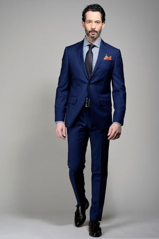 blue suit slim long flli cerruti Angelico