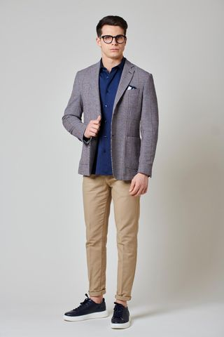 navy brown checkered jacket slim Angelico
