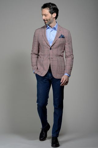 red-blue checkered jacket slim Angelico