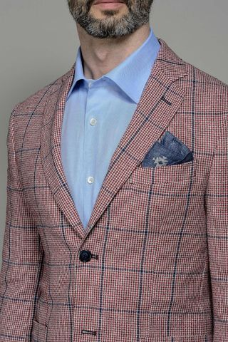 giacca rossa quadro blu slim Angelico