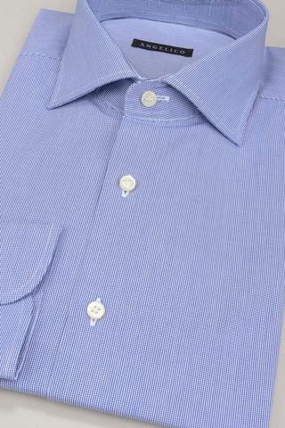 blue shirt micro-checkered Angelico