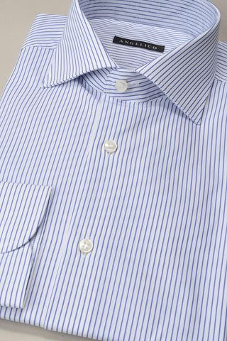 white shirt blue fine stripes Angelico