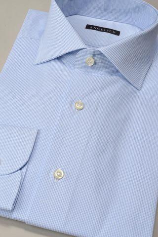 light blue shirt micro-checkered slim Angelico
