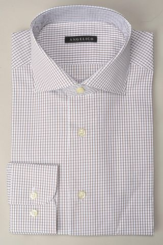 camicia bianca quadretto marrone slim Angelico
