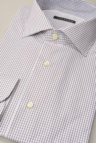 camicia bianca quadretto marrone slim Angelico