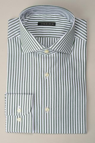 camicia verde riga media slim Angelico