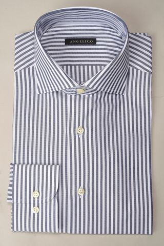 camicia blu scuro riga media slim Angelico