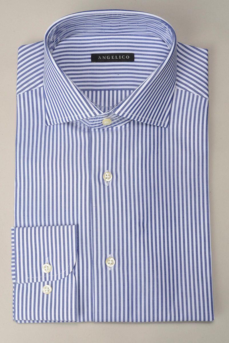 camicia bluette riga media slim Angelico