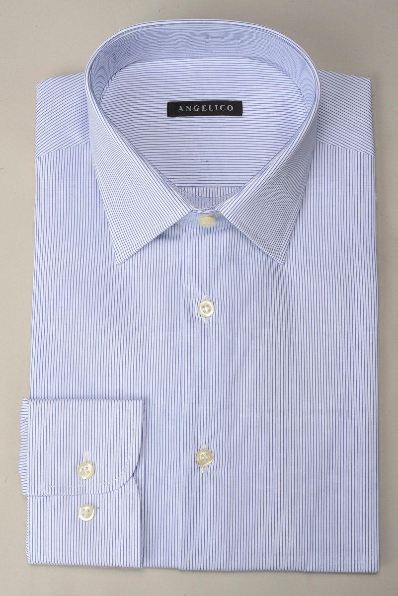 camicia bianca righe fini blu Angelico