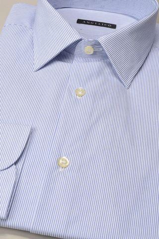 white shirt fine blue stripes Angelico