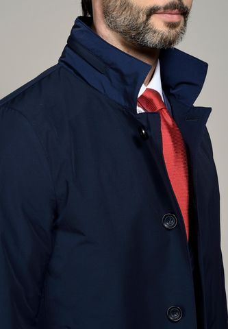 navy raincoat standing collar Angelico