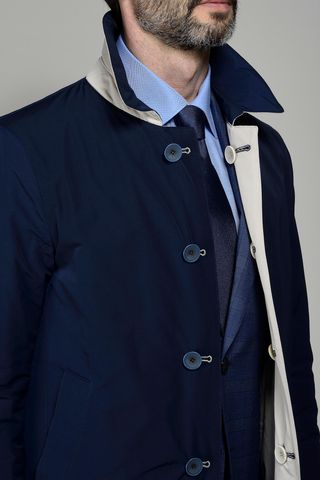 reversible blue-beige raincoat Angelico