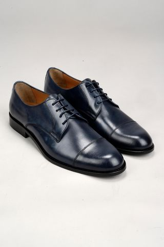 blue calfskin derby shoes Angelico