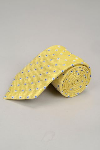 yellow tie with blu cross Angelico