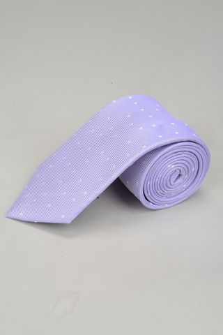 mauve tie with white polka dots Angelico