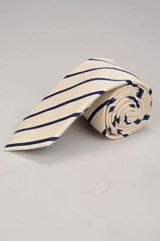 cream tie navy regimental pattern Angelico