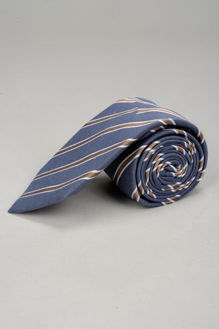 navy tie brown regimental pattern Angelico